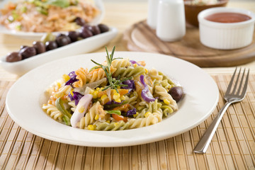 Pasta Fusilli with Vegetables, Shallow depth of field