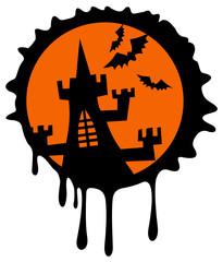 Black castle silhouette on a orange background.