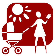Stylized woman with  baby carriage.