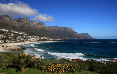 View of the beach near Twelve Apostles Mountains in Cape Town