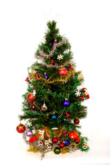 Christmas Tree with Decorations isolated on White
