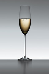 Champagne flute isolated over a gray backlit background.