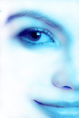 Close up of  female person in  blue tonality