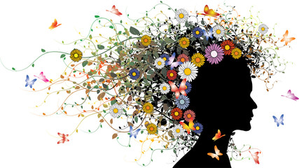 Floral girl silhouette - colored version with flowers