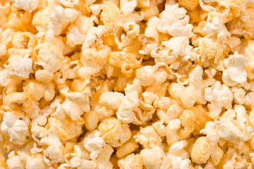 food serias: macro picture of popcorn, background