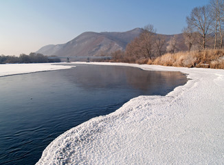 Riverheads of Ussuri in the winter morning