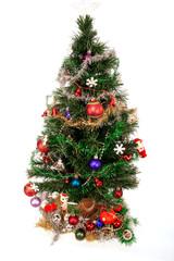 Christmas Decorations on Tree Isolatedon a white background