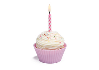 Pink cupcake with candle on white background