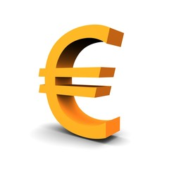 Euro currency symbol 3d rendered image