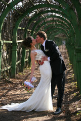The groom and the bride walk in park.