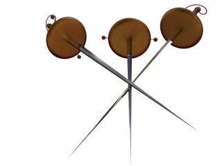three swords. 3d