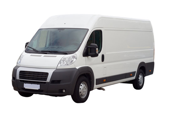 new white lorry van isolated, with blank place for text