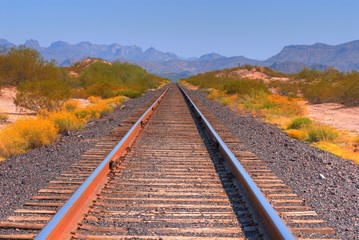 Desert railroad tracks in the Arizona desert