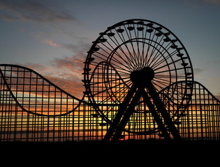 Ferris wheel and amusement park