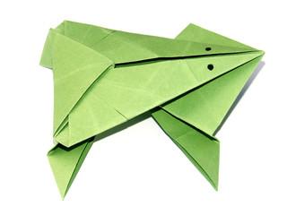 Photo sur Plexiglas Grenouille la grenouille verte en papier plié