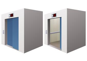 Ascenseur ouvert et fermé (détouré)