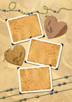 Photo frameworks in a retro style. Old paper, hearts, beads.