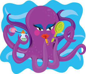 A purple octopus making use of it's many arms