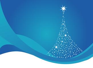 abstract christmas tree made of stars