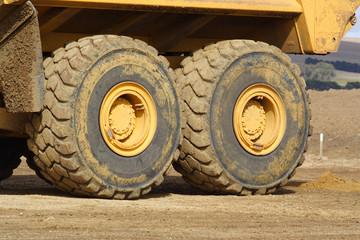 Big wheels of large dump truck