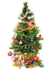 Decorated Christmas tree against a white background
