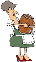 Woman Carrying A Wooden Keg