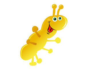 Yellow Cartoon Caterpillar