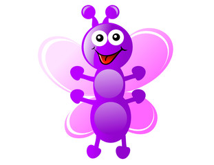 Purple Cartoon Butterfly