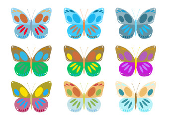 a set of colorful butterflies