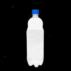 Plastic bottle isolated on black.