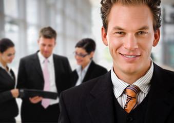 Businessman leading team