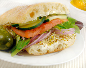 Healthy vegetarian sandwich with various vegetables