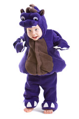 Young baby boy dressed in halloween party costume