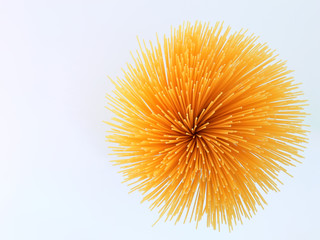 Simply image of a spaghetti bunch taked from the top