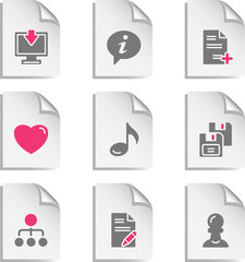 Gray document web icon, set 10