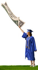 a graduate reaching for a dollar bill that is flying away
