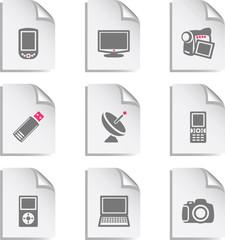 Gray document web icon, set 16