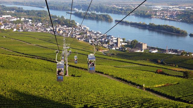 Blick aus der Seilbahn nach Rüdesheim