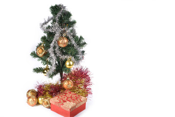 Present box under the Christmas tree isolated
