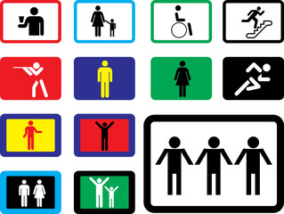 Set buttons. Pictographs of people