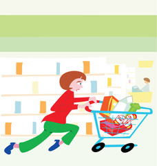 woman running with a shopping cart filled with food