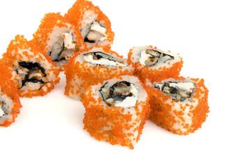 Sushi rolls isolated on white.