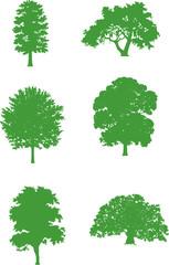 Abstract vector illustration: green trees