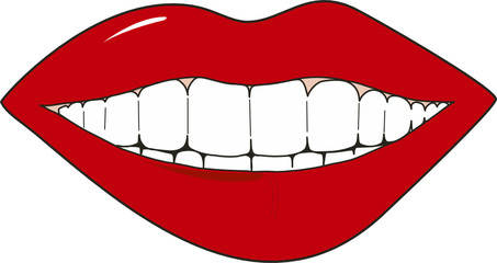 Abstract vector illustration of smiling female lips