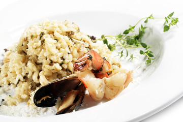 Shrimp and Scallop Risotto Served with Green