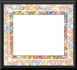 Black edged, floral border Frame - with isolated clipping path