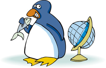 penguin with fish and globe