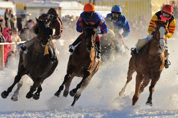 Course de chevaux sur lac gelé