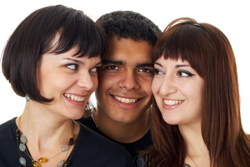 Portrait of three happy friends isolated on white background