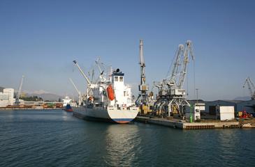 boat unloading at ploce harbour in croatia